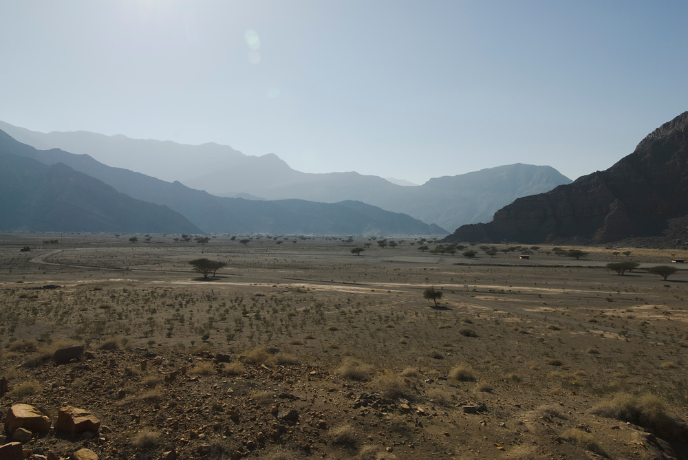 Valley floor in the Al Hajar Mountains, Musandam Peninsula, Oman