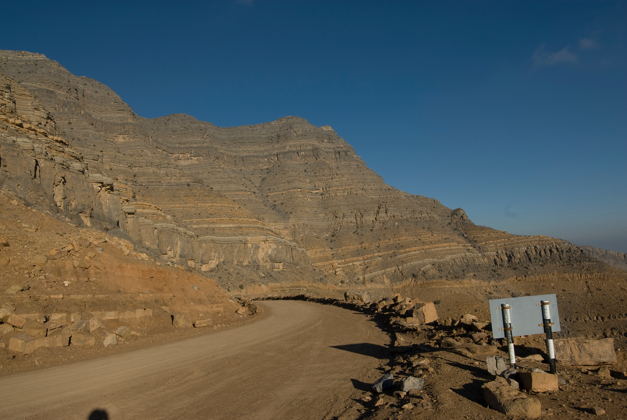 Road, Sign and Mountain - Musandam, Oman