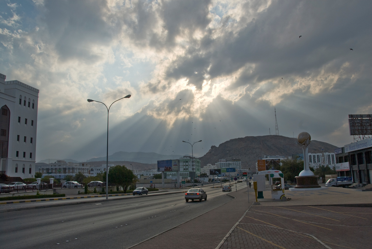 Sun rays beaming over Muscat, Oman