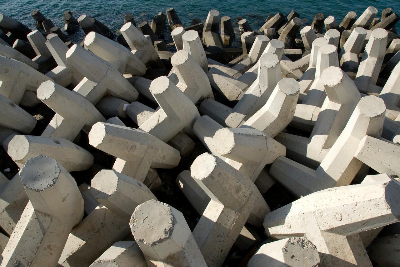 Cement blocks near waterfront in Muscat, Oman