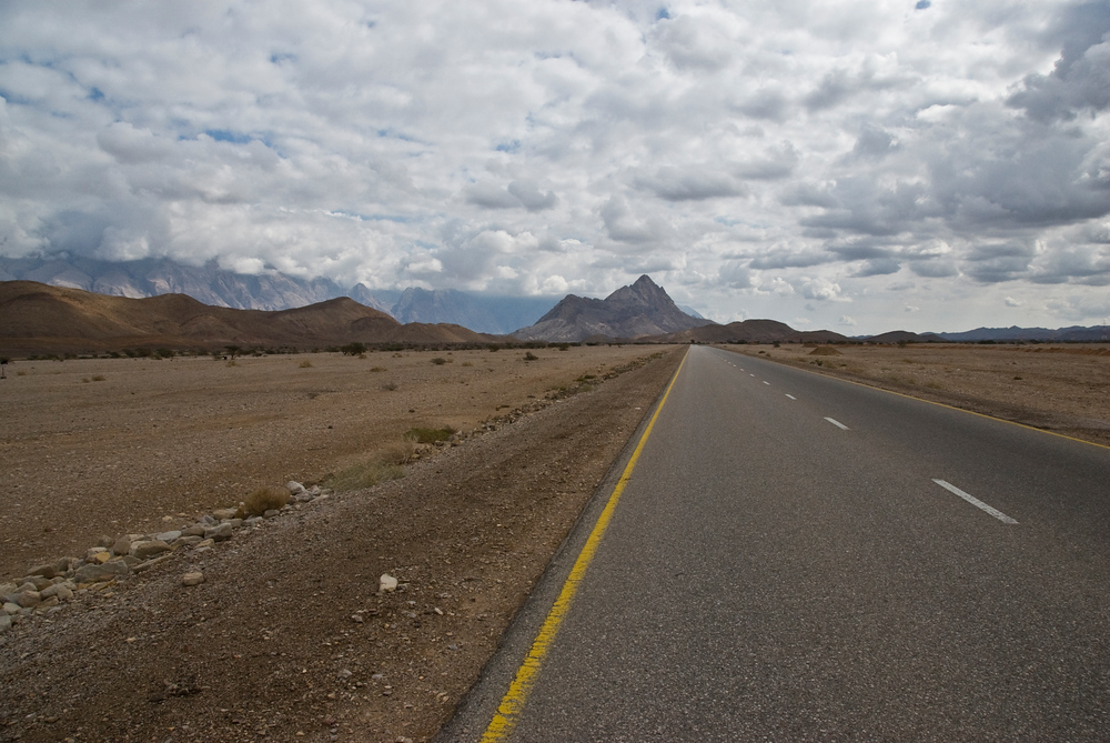 Road in the Hajar Mountains in Nizwa, Oman
