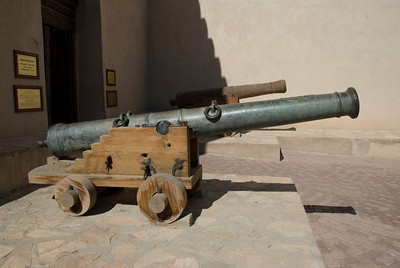 Cannon at fort in Nizwa, Oman