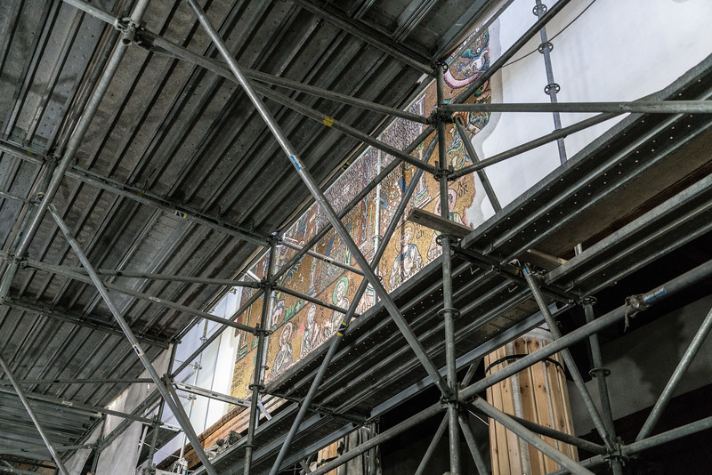 Scaffolding in the Church of the Nativity