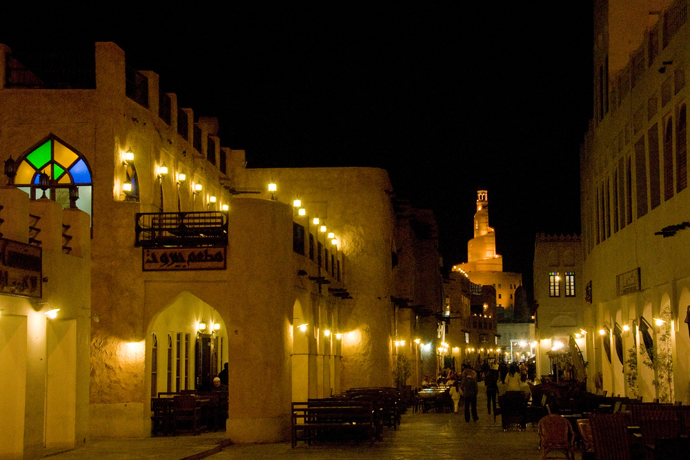 Souk and Spire at Night in Doha, Qatar