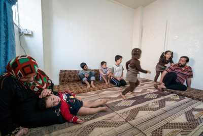 Filippo Grandi, the UN High Commissioner for Refugees visits a Syrian Refugee family in Amman Jordan,