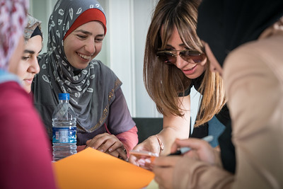 "Iman, 24, meets Bayan Abu Al-Rub, author of the MOM-MINT Blog and a social media influencer, during a fashion design workshop in Za'atari Refugee Camp, at Start-Up Za'atari, an event hosted by UNICEF and The One Foundation. ""Our dream to be fashion designers might come true. With our determination, we can do it,"" said Iman. ""I would like our designs to be worn by people in the camp, and all across the world."" Iman's group designed a dress, incorporating a cape with feathers. ""We chose the feathers because we wanted to show the freedom of a bird. A bird can fly away so that's why it's our symbol. Something flowing and free."""