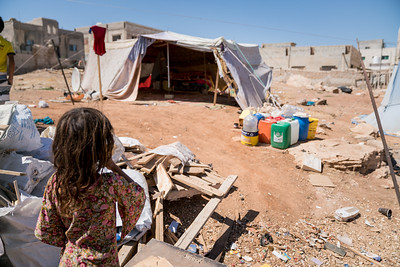 UNICEF Jordan, Informal tent settlement belonging to members of the Jordanian Dom community.  East Amman.