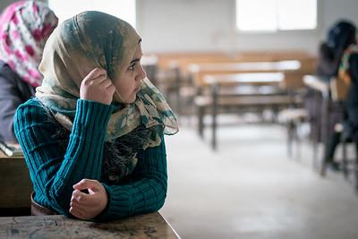 First day back at school at a girls school in Zaatari refugge camp in Jordan.