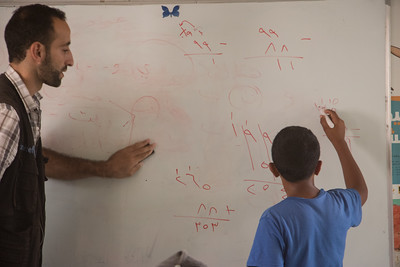 Inside  math class at Save the Children - UNICEF drop in center in Za'atari Refugee camp.
