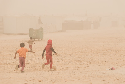 Za'atari Refugee camp, September 8, 2015. Sand storm over the camp with little means of escape for many of the over the 80,000 Syrian refugees living  there.