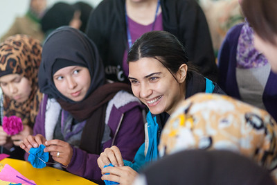 Za'atari Refugee camp, Jordan: March 4, 2015, Tuba Buyukustun, Turkish film star and Unicef Ambassador visits children in refugee camp. Photo: Unicef / Christopher Herwig