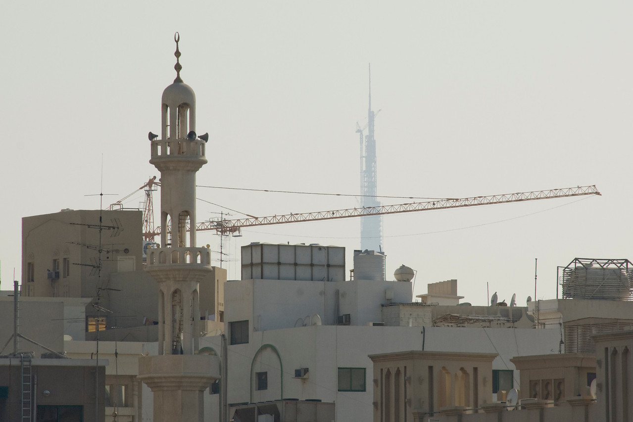 Mosque, Crane, and Tower - Dubai, UAE