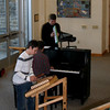 10/31/08: Zach R. plays hammered dulcimer for 8th grade morning meeting, accompanied by Mr. Newberger on piano and Mr. Solonynka on melodica.