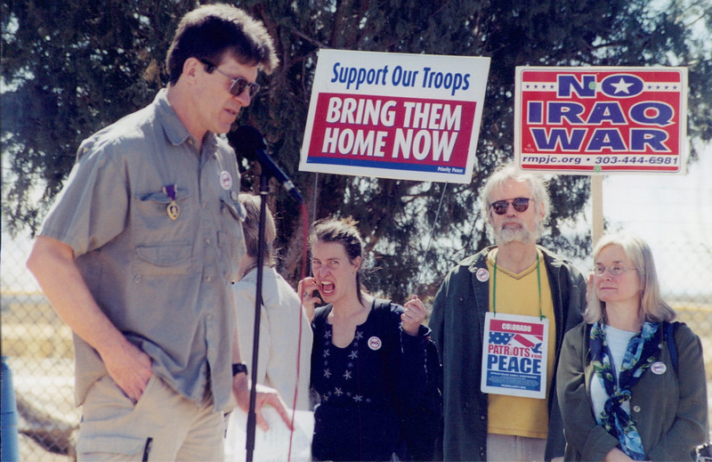 Decorated war veteran (Purple Heart), speaks out against a war on Iraq at a demonstration at Buckley Air Force base near Denver, Co. (2001/2002??).
