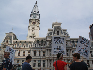 About 20 protestors demonstrated near city hall in Philadelphia against a US attack on Syria. (8/31/13)