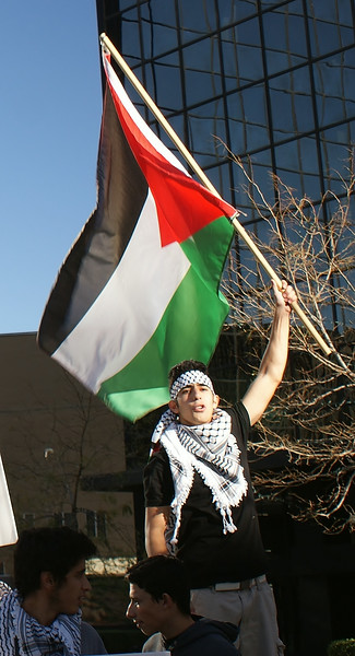 Young man wearing keffiyeh, raises Palestinian flag above head, protesters below him, office building in background.