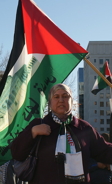 Woman wearing hijab and Palestinian flag scarf, large palestinian flag with picture of mosque on it, behind her.