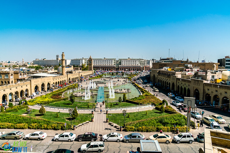 A park, fountains and the market in central Erbil