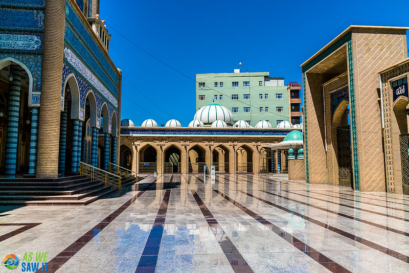 Polished tiles of courtyard and exterior of Jalil Khayat mosque in Erbil