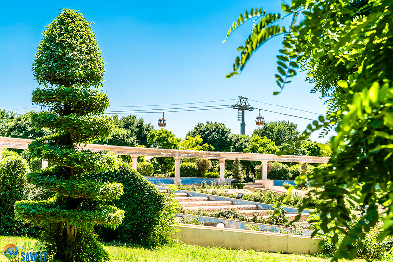 Topiary in Minare Park, with cable cars in the background