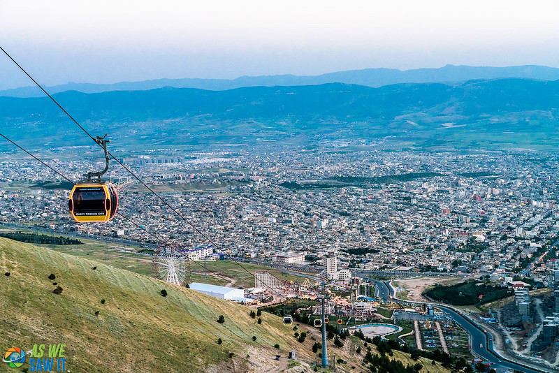 Cable Car leading up the hill from a Slemani amusement park
