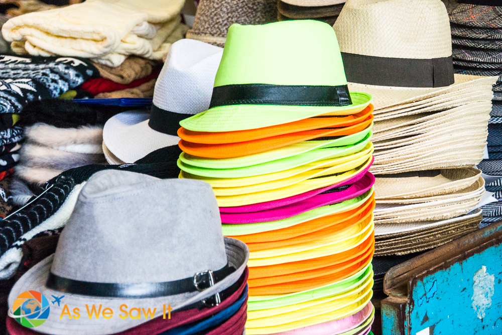 Neon colored hats among many available.