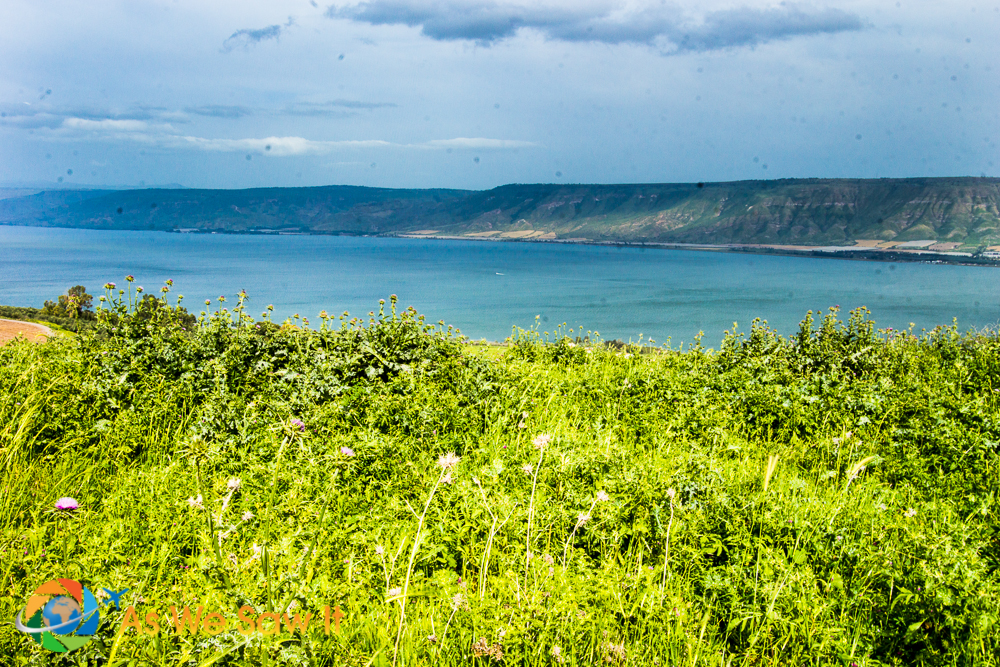 coming to a crest, the rest of the Sea of Galilee came into view
