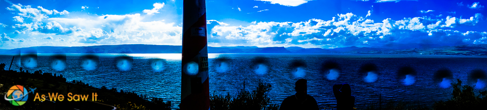 Was raining when I did this panorama, and the rain sport were interesting.  View from the cliff of pigs.
