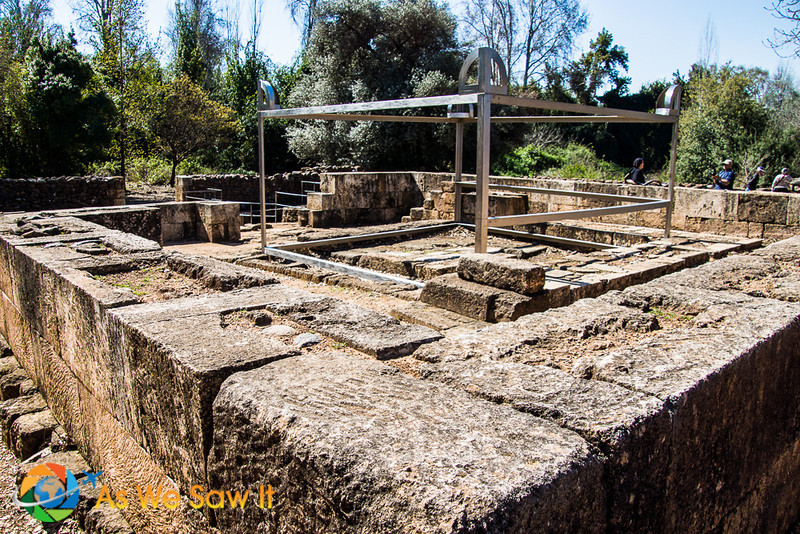 Metal frame at Tel Dan shows how big the altar was