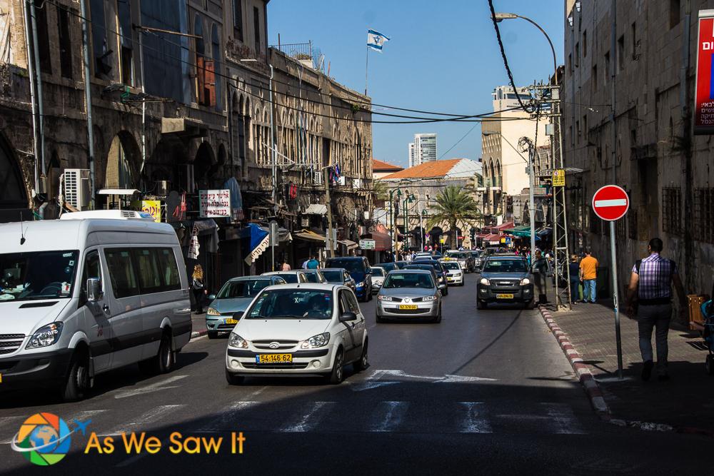 Main street into Jaffa with load of street food