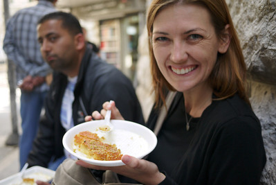 Me with a yummy plate of knafeh! Amman, Jordan