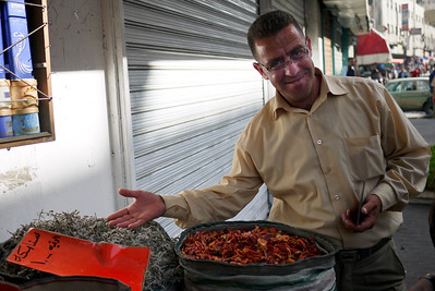 Rami, our driver showing us around the spice market in Amman, Jordan