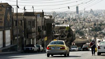 A quiet street overlooking Amman, Jordan