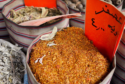 A barrel of spice on the street's sidewalk in Amman, Jordan