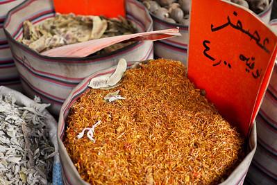 A barrel of spice on the street's sidewalk in Amman, Jordan