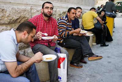 Enjoying Habiba sweets in Amman, Jordan