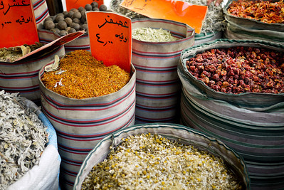 Barrels full of spices in in Amman, Jordan