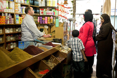 Shopping in a spice shop in Amman, Jordan