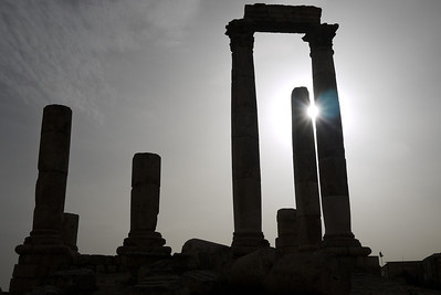The bright sun shades the columns of the Amman Citadel, Jordan