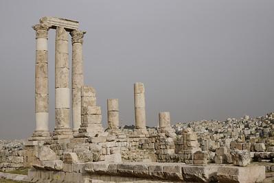 The white columns of the Amman Citadel, Jordan