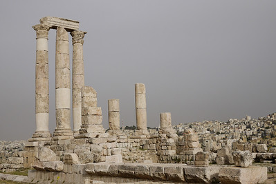 The white columns of the Amman Citadel, Jordan
