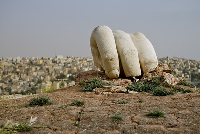 Hercules' hand, a fragment left over from a giant statue that would have stood at the Temple of Hercules on Citadel Hill in Amman, Jordan. Amman Citadel, Jordan