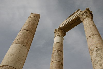 An overcast sky and the towers of the Amman Citadel, Jordan
