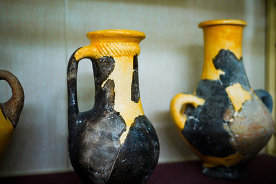 Beautiful small pieces of pottery inside the museum at the Amman Citadel, Jordan