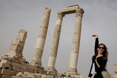 The columns are tall enough to trick Jodi into thinking she can touch the top, Amman Citadel, Jordan