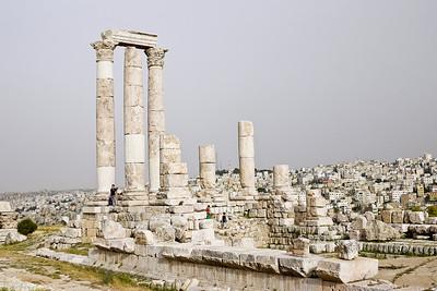 The tall white columns of the Amman Citadel, Jordan