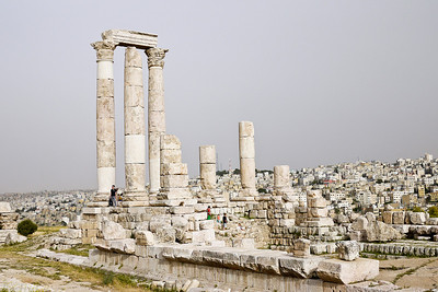 The tall white columns of the Amman Citadel, Jordan