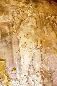 A wall fresco in suprisingly good condition at the Quseir Amra desert castle, a UNESCO World Heritage site.