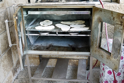 Pita baking in the oven.