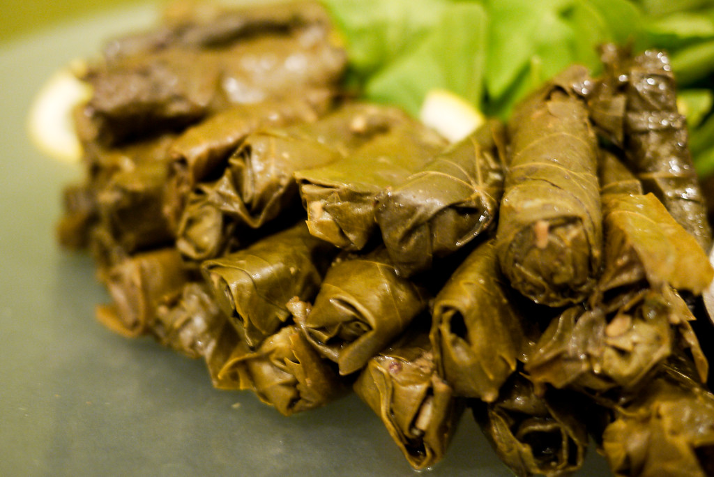 Dolma, stuffed grape leaves were a tasty snack in Jordan